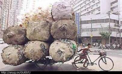 Man pulling a heavy load